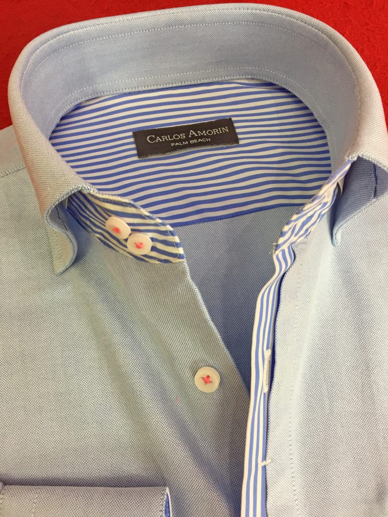 Blue Shirt with Striped Borders